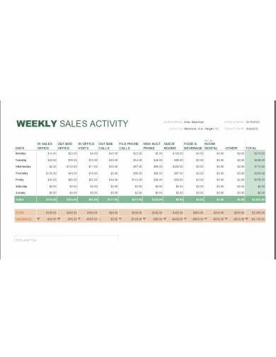 sample weekly sales activity report