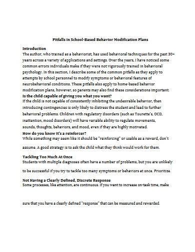school based behavior modification plan