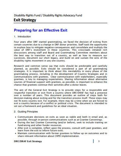 simple exit strategy template