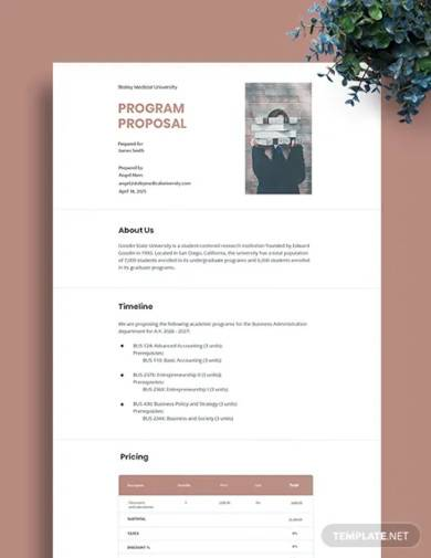 simple program proposal template