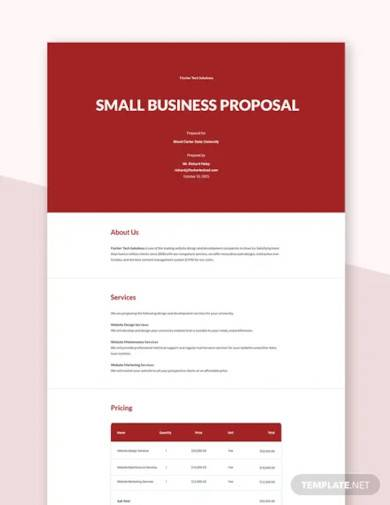 Free 15 Small Business Proposal Samples In Pdf Ms Word Google Docs Pages Publisher