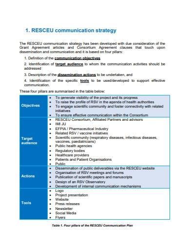 standard project communication plan