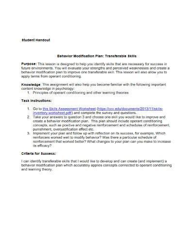 student behavior modification plan
