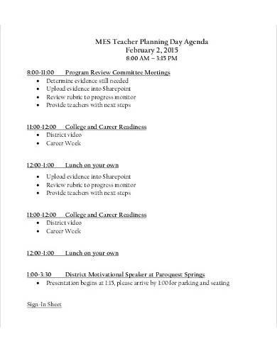 teacher planning day agenda