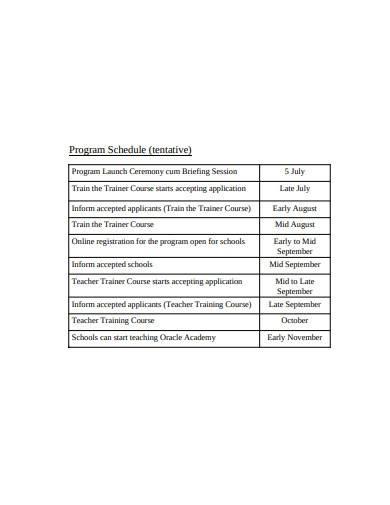 teacher training program schedule