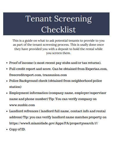 tenant screening checklist sample