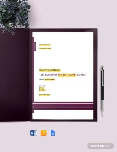 test summary report template