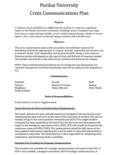 university crisis communication plan