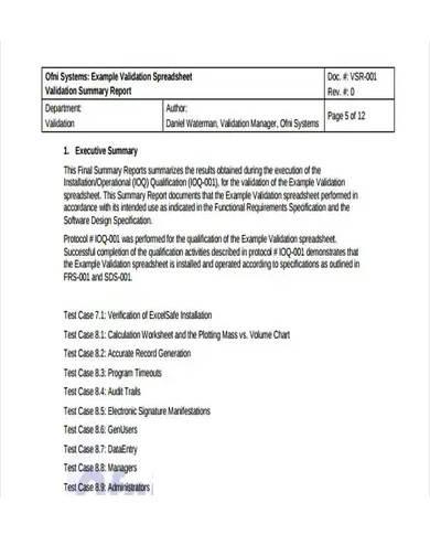 validation summary report sample