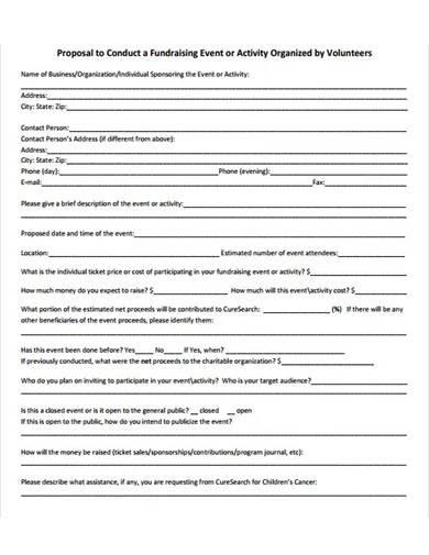 volunteer fundraising event proposal