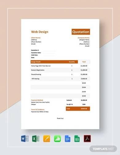 web design quotation template