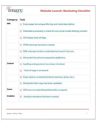 website launch marketing checklist