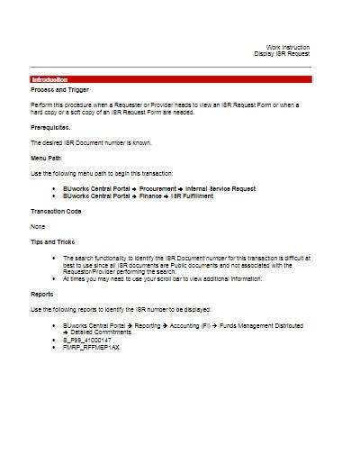 work instruction format