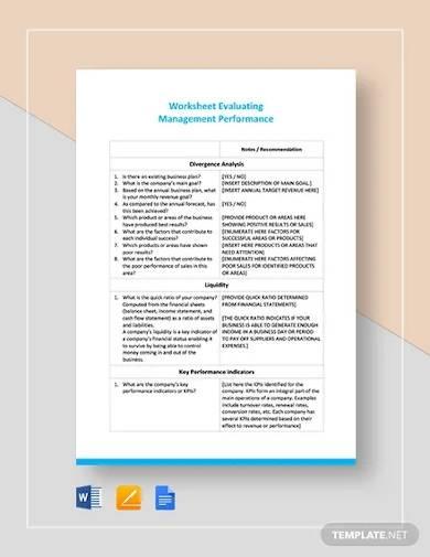 worksheet on evaluating management performance