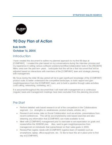 90 day plan of action template
