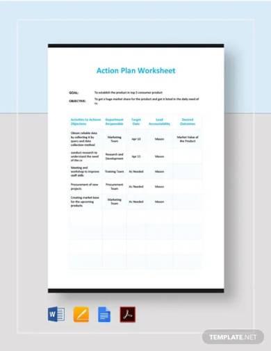 action plan work sheet template