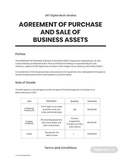 agreement of purchase and sale of business assets template
