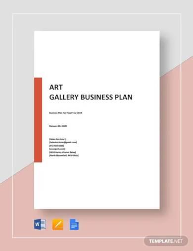 art gallery business plan template