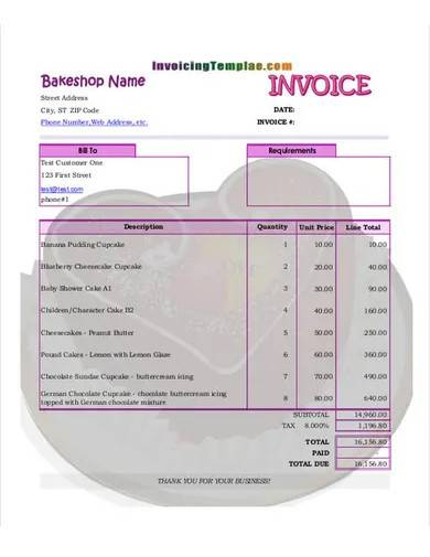 bakery cake invoice template