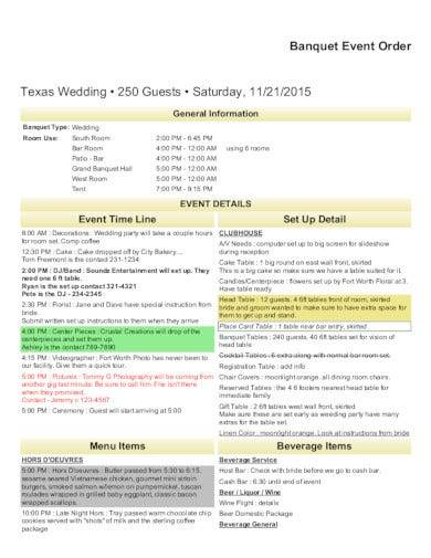banquet event order template