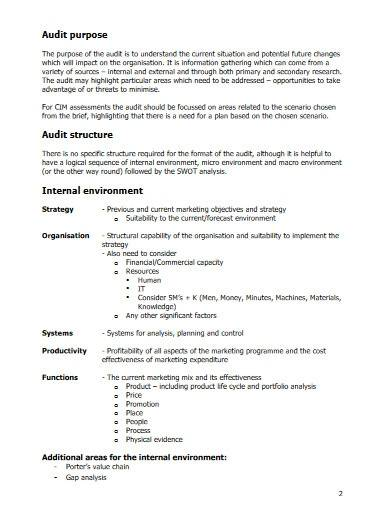 basic marketing audit template
