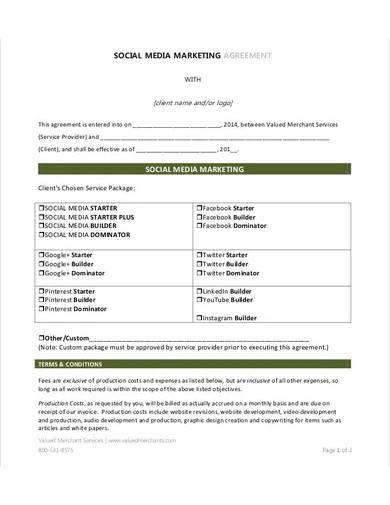 basic social media marketing agreement