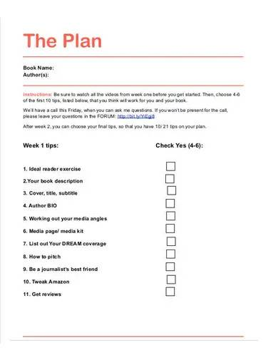 book marketing plan outline