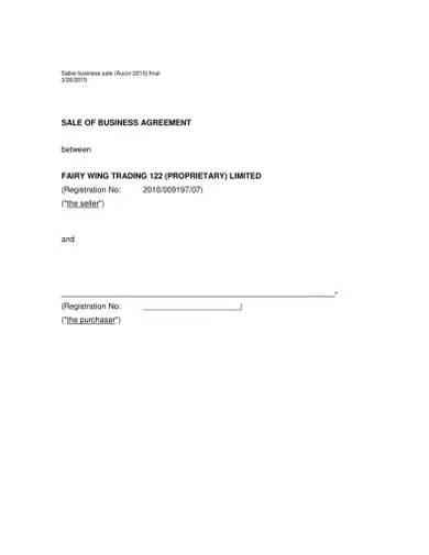 business sale agreement sample