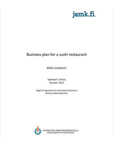business and marketing plan for restaurant