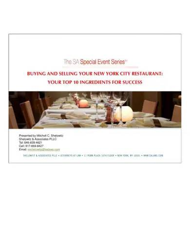buying and selling guide for restaurant