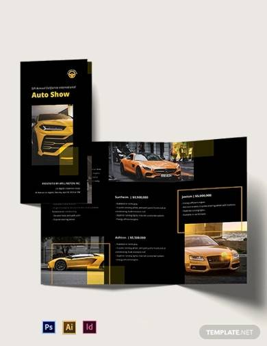 car show tri fold brochure template