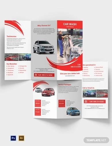 car wash a3 tri fold brochure