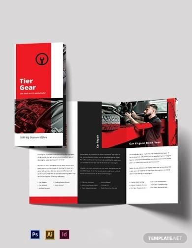 car and automotive workshop tri fold brochure