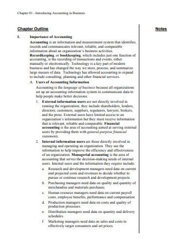 chapter outline note template