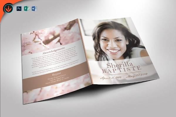cherry funeral program template