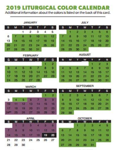 church calendar sample