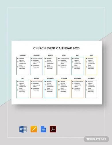 church event calendar template