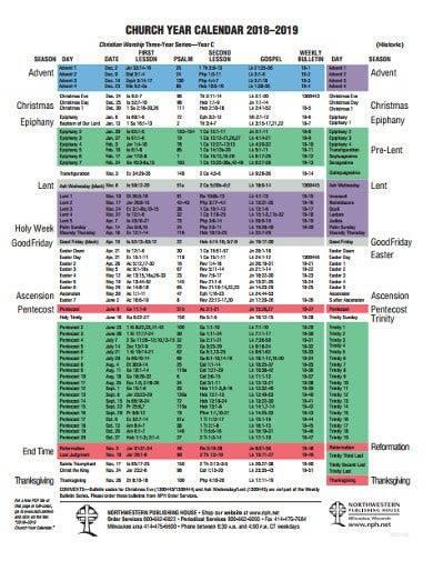 church year calendar format