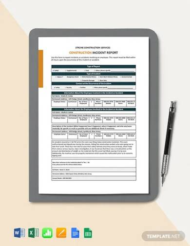 construction incident investigation report template