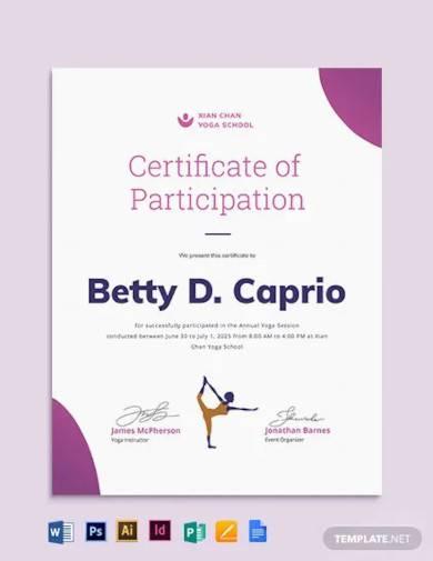 creative yoga certificate template