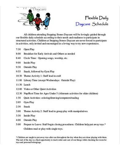 daily daycare schedule