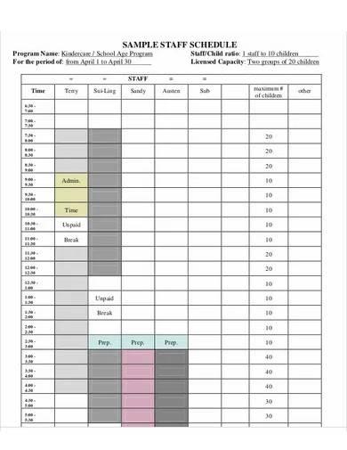 daycare staff schedule