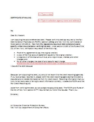 debt collection dispute letter