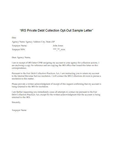 debt collection opt out letter