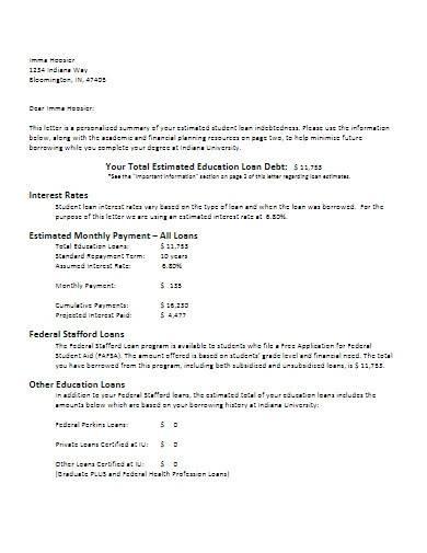 debt letter format template