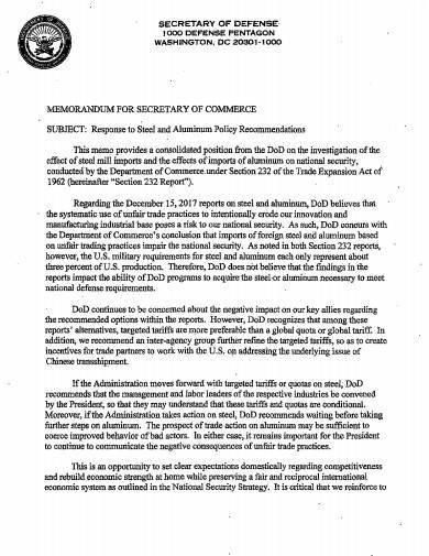 department of defense memo