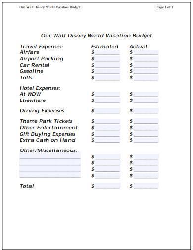 disney vacation budget template