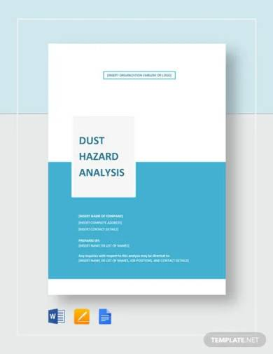 dust hazard analysis template