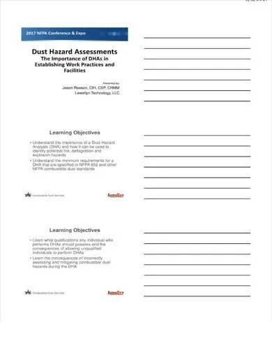 dust hazard assessment template