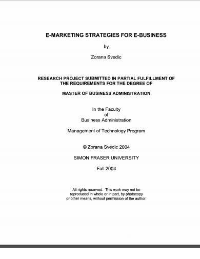 e marketing strategies for e business